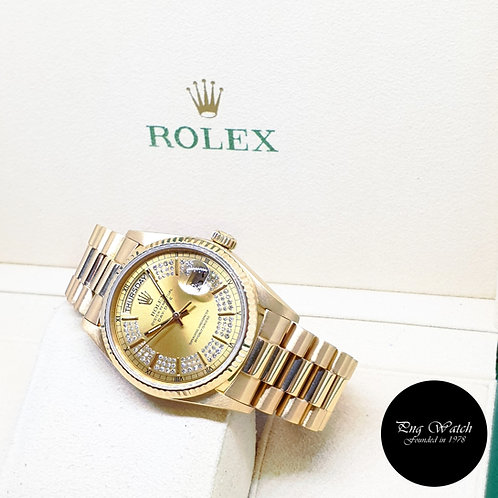 Rolex Oyster Perpetual 18K Yellow Gold String Diamonds Day-Date REF: 18038 (9.8)