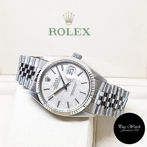 Rolex 36mm Oyster Perpetual Silver Linen Datejust REF: 16014