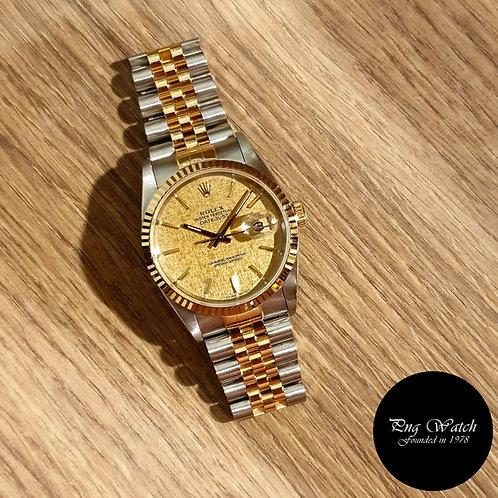 Rolex 18K Half Gold Champagne Textured Dial Datejust REF: 16233 (2)