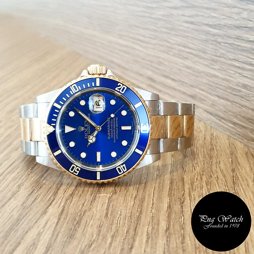 Rolex OP 18K Half Gold Blue Submariner REF: 16613 (A Series)(2)