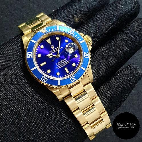 Rolex 40mm Perpetual 18K Full Yellow Gold Blue Submariner REF: 16618 (91)(2)