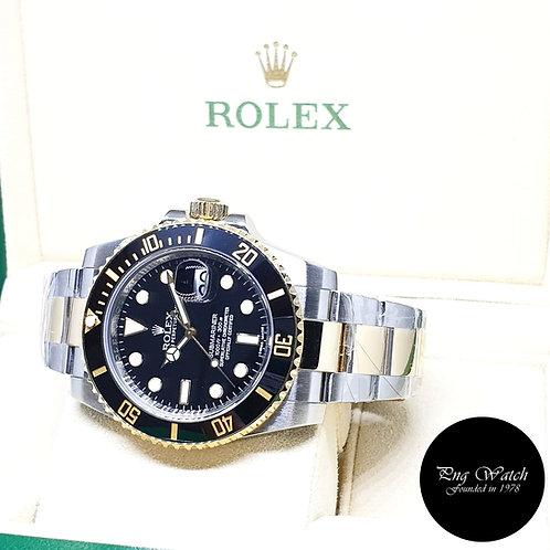 Rolex Oyster Perpetual 18K Ceramic Black Half Gold Submariner REF: 116613LN