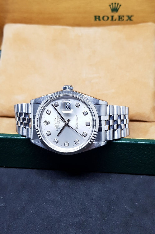 Rolex Oyster Perpetual Big Diamonds Silver Datejust REF: 16234