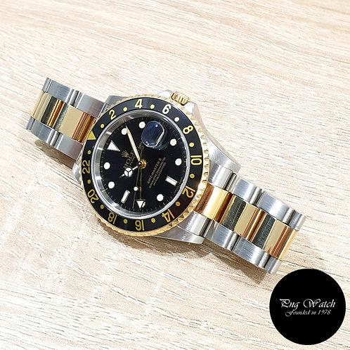 Rolex Oyster Perpetual 18K Half Gold Black GMT Master 2 REF: 16713 (F)(2)