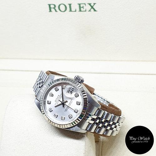 Rolex OP 10PT Big Diamonds Silver Ladies Datejust REF: 79174 (2003)