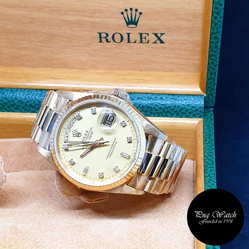 Rolex 18K Yellow Gold Vignette Diamonds Day-Date REF: 18038