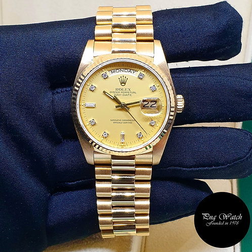 Rolex 18K Yellow Gold Champagne Vignette Diamonds Day-Date REF: 18038 (2)