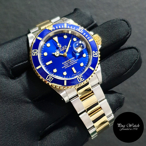 Rolex Oyster Perpetual 18K Half Yellow Gold Blue Submariner Date REF: 16613 (Y)