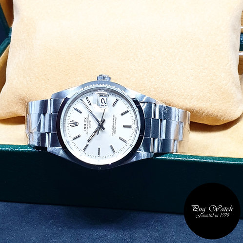 Rolex 34mm Silver Indexes Oyster Perpetual Date REF: 15200 (T Series)