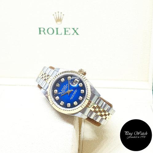 Rolex OP 18K Half Gold Blue Degrade Diamonds Ladies Datejust REF: 69173
