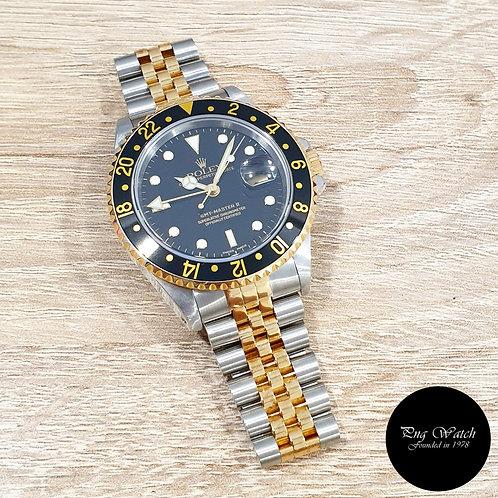 Rolex Oyster 18K Half Gold Black GMT Master 2 Jubilee Bracelet REF: 16713 (P)(2)