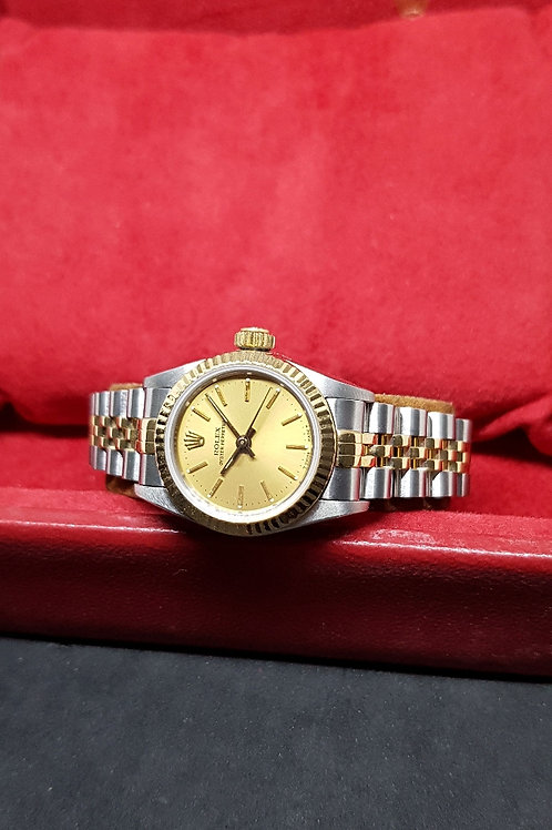 Rolex Champagne Gold Ladies Oyster Perpetual REF: 67193