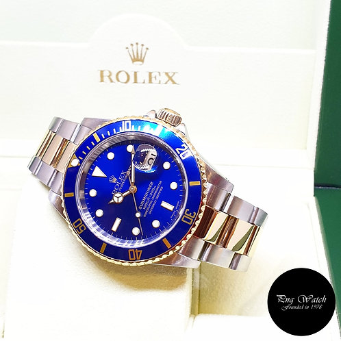 Rolex Oyster Perpetual 18K Half Gold Blue Submariner Date REF: 16613 (Y Series)