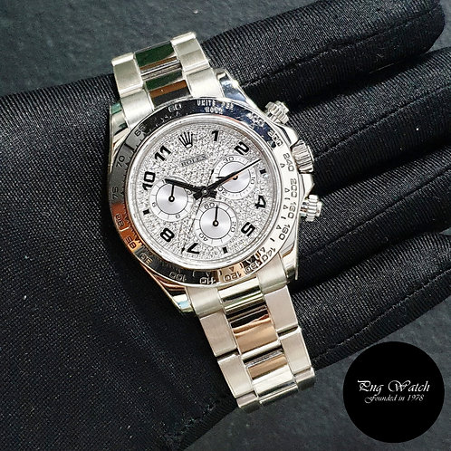 Rolex Oyster Perpetual 18K White Gold Pave Diamonds Daytona REF: 116509 (Z)(2)