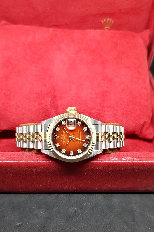Rolex 10PT Diamonds Red Ombre Ladies Datejust REF: 69173
