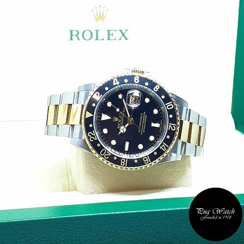 Rolex Oyster Perpetual 18K Half Gold Black GMT Master 2 REF: 16713