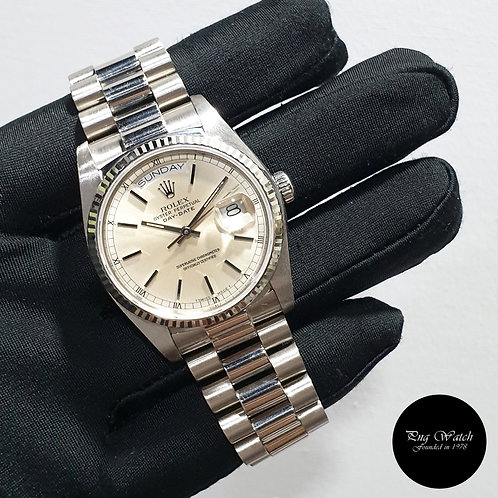 Rolex Oyster Perpetual 18K White Gold Silver Indexes Day-Date REF: 18039 (2)