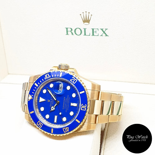 Rolex 18K Full Yellow Gold Matte Blue Submariner Date REF: 116618LB (2015)