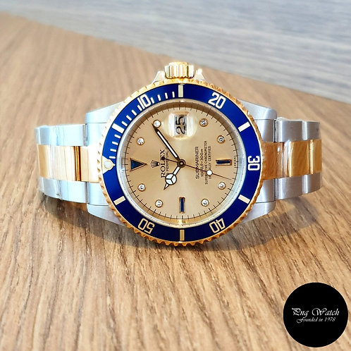 Rolex 18K Half Gold Champagne Serti Diamonds Submariner Date REF: 16613 (2)
