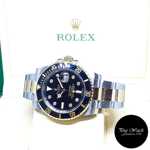 Rolex 18K Half Gold Ceramic Black Serti Diamonds Submariner REF: 116613LN