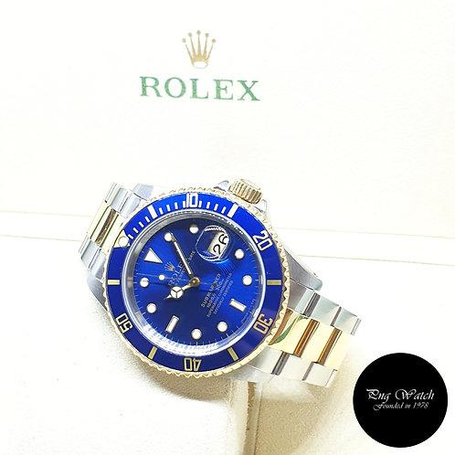 Rolex Oyster Perpetual Tritium Blue 18K Half Gold Submariner Date REF: 16613