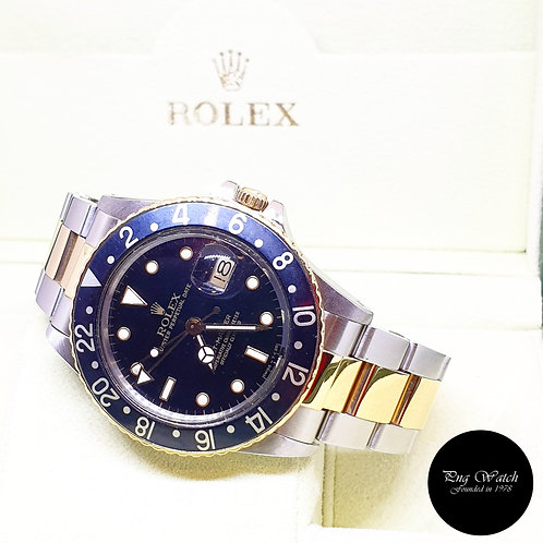 Rolex Oyster Perpetual 18K Half Gold Tritium Black GMT Master REF: 16753 (9.57)