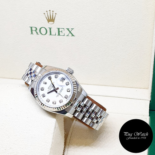 Rolex Oyster Perpetual 26mm White Diamonds Datejust REF: 179174