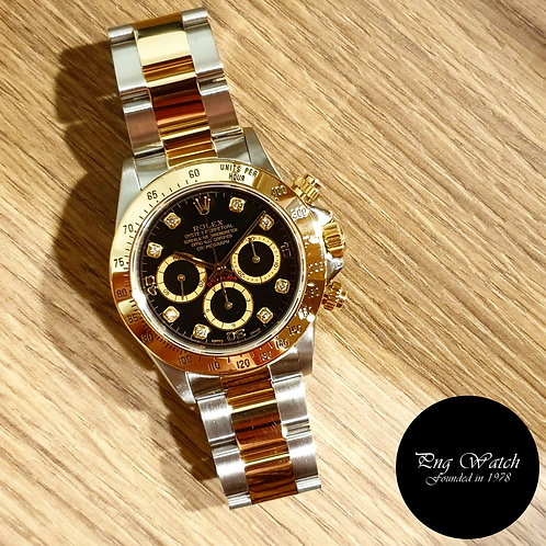"Rolex 18K HG Zenith Mvt ""Inverted 6""  Black Diamonds Daytona REF: 16523 (2)"