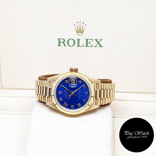 "Rolex 18K Yellow Gold 26mm Ladies Blue Computer ""QUEEN"" Datejust REF: 69178"