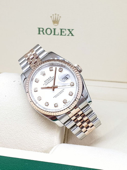 Rolex 18K Half Rose Gold Diamonds Datejust REF: 116231