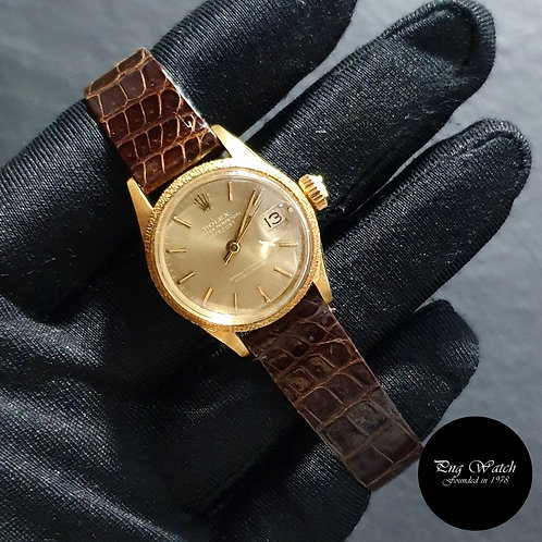 Rolex 18K Yellow Gold 26mm Ladies Champagne Indexes Datejust REF: 6701 (2)