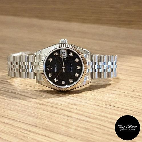 Rolex Oyster Perpetual 31mm 10PT Diamonds Black Computer Datejust REF: 178274 (2