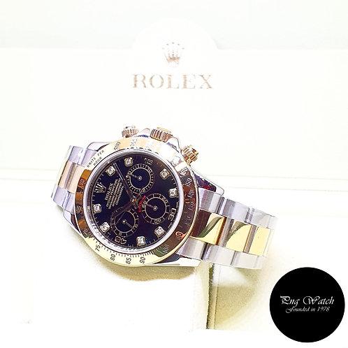 (NOT AVAILABLE) Rolex 18K Half Gold Black Diamonds Daytona REF: 116523 (D)