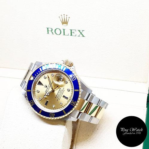 Rolex Perpetual 18K Half Gold Champagne Serti Diamonds Submariner REF: 16613 (F)