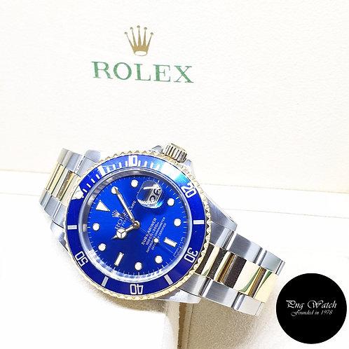 Rolex Oyster Perpetual Tritium 18K Half Gold Blue Submariner Date REF: 16613 (U)
