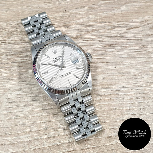 Rolex Oyster Perpetual 36mm Silver Tapestry Indexes Datejust REF: 16234 (2)