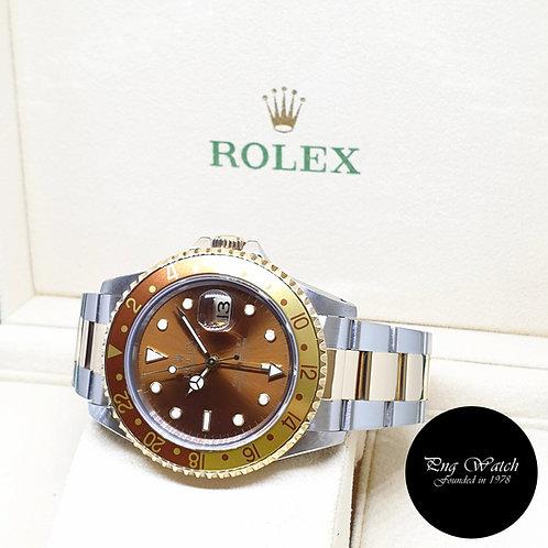 "Rolex 40mm 18K Half Gold ""ROOTBEER"" Brown GMT Master 2 REF: 16713 (1997)"