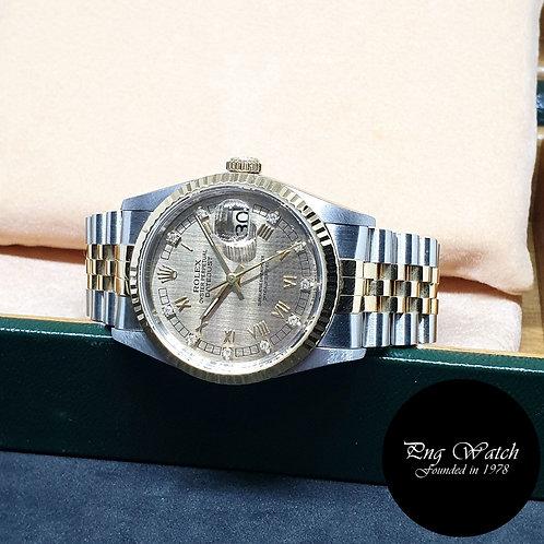 Rolex 18K Half Gold Houndstooth Diamond Datejust REF: 16233
