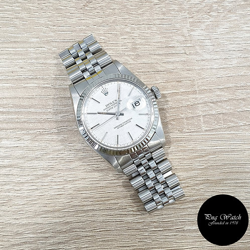 Rolex Oyster Perpetual Silver Linen 36mm Datejust REF: 16014 (2)