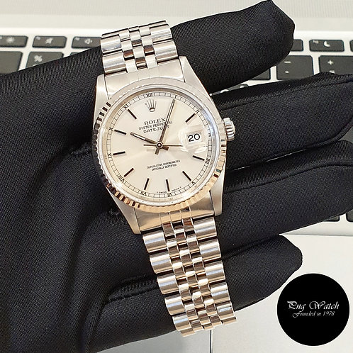 Rolex Oyster Perpetual Silver Indexes Datejust REF: 16234 (L Series)