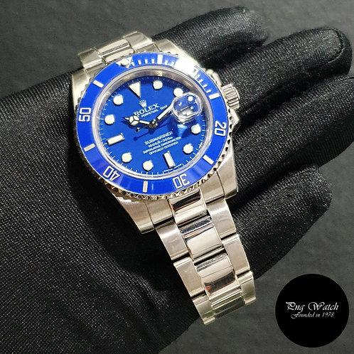 """Rolex 18K Full White Gold """"SMURF"""" Blue Submariner Date REF: 116619LB"""