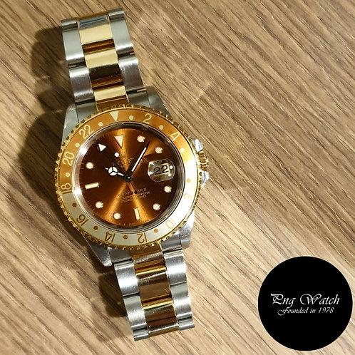 """Rolex 18K Half Gold Tritium """"Rootbeer"""" GMT Master 2 REF: 16713 (2)"""
