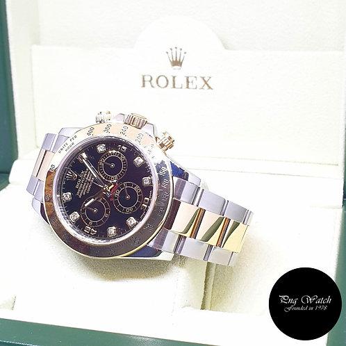 Rolex Oyster Perpetual 18K Half Gold Black Diamonds Daytona REF: 116523 (2011)