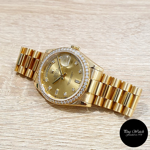 Rolex OP 18K YG Champagne Diamond Dial and Bezel Day-Date REF: 118348 (2)
