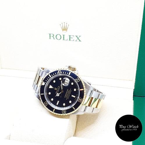 Rolex Tritium 18K Half Yellow Gold Black Submariner Date REF: 16613