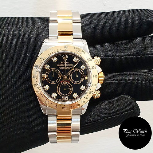 Rolex 18K Half Yellow Gold Black Diamonds Daytona REF: 116523 (2)