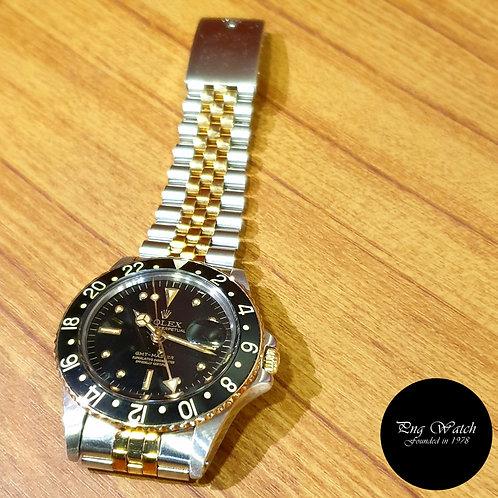 "Rolex Oyster Perpetual 14K Half Gold ""Nipple"" Black GMT Master REF: 1675 (2)"