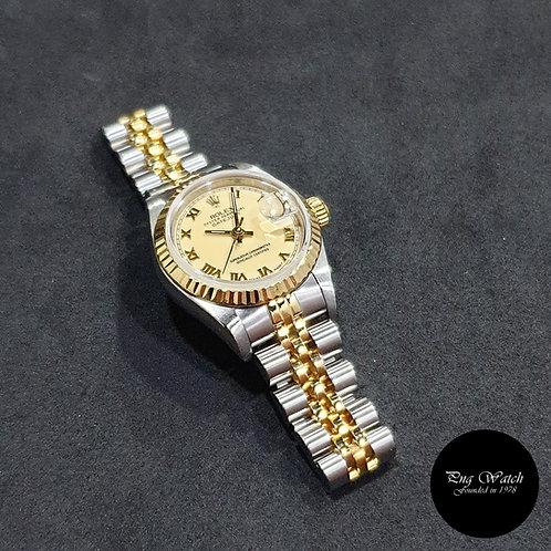 Rolex OP 18K Half Gold 26mm Ladies Cream Roman Datejust REF: 69173 (2)