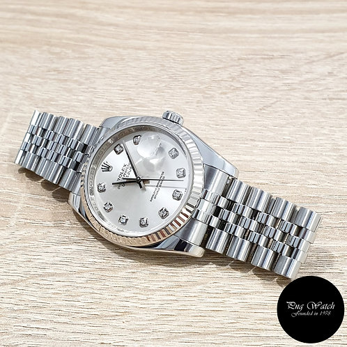 Rolex Oyster Perpetual 36mm Silver Diamonds Datejust REF: 116234 (M)(2)