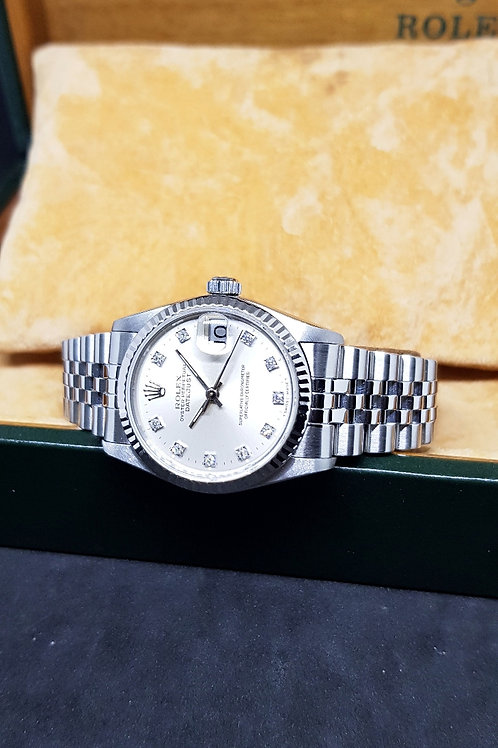 Rolex Oyster Perpetual Silver 10PT Diamonds Boy Datejust REF: 68274